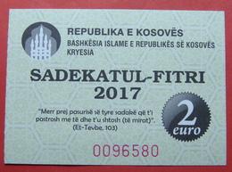 US PROTECTORATE, ISLAMIC STATE OF KOSOVO, 2 EURO 2017 SADAKA RAMADAN BON - Etats-Unis