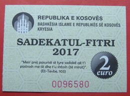 US PROTECTORATE, ISLAMIC STATE OF KOSOVO, 2 EURO 2017 SADAKA RAMADAN BON - United States Of America