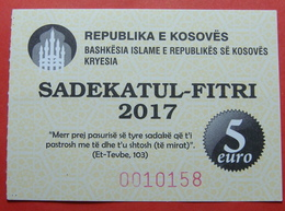 US PROTECTORATE, ISLAMIC STATE OF KOSOVO, 5 EURO 2017 SADAKA RAMADAN BON - Stati Uniti