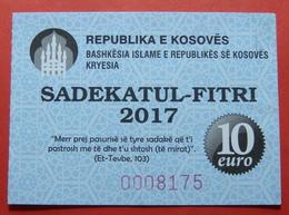 US PROTECTORATE, ISLAMIC STATE OF KOSOVO, 10 EURO 2017 SADAKA RAMADAN BON - Etats-Unis