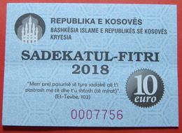 US PROTECTORATE, ISLAMIC STATE OF KOSOVO, 10 EURO 2018 SADAKA RAMADAN BON - Etats-Unis