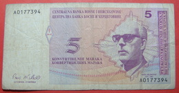 BOSNIA AND HERZEGOVINA, 5 KONVERTIBILNIH MARAKA. - Bosnie-Herzegovine