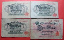 GERMANY LOT X 4 BANKNOTES, 3 X 1 MARK AND 2 MARK - [ 3] 1918-1933: Weimarrepubliek