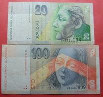 SLOVAKIA LOT X 2 BANKNOTES, 20 AND 100 KORUN - Slowakei