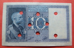 ITALIA 10 LIRE 1939 FORGERY, BANK CANCELLATION - [ 1] …-1946 : Royaume