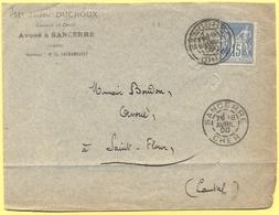 FRANCIA - France - 1900 - 15c Sage - Avoué Me Joseph Ducroux - Viaggiata Da Sancerre Per Saint-Flour - 1876-1898 Sage (Tipo II)