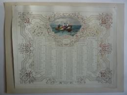 ALMANACHL,  Calendrier SEMESTRIEL 1855, Allégorie Marine  , Chromo- Lithographie - Calendars