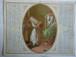ALMANACHL,  Calendrier  1873 ALLEGORIE  Alimentation à La Campagne    , Chromo- Lithographie - Calendars