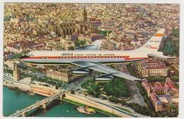1355/ IBERIA. Jet DC-8 Flying Over Sevilla (early 1960s / Début Années '60 / Inizio Anni '60).- Non écrite. Unused. - 1946-....: Era Moderna