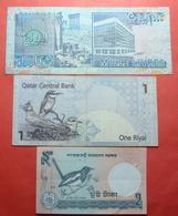 LOT X 3 MIDDLE EAST AND ASIA BANKNOTES. QATAR, LEBANON, BANGLADESH - Qatar