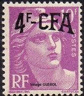 France Réunion Marianne De Gandon N° 296 ** Marianne De Gandon Surchargé CFA 4frs/10 Lilas - 1945-54 Marianne De Gandon