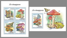 CENTRAL AFRICA 2019 MNH Frogs Frösche Grenouilles Mushrooms M/S+S/S - OFFICIAL ISSUE - DH1906 - Grenouilles