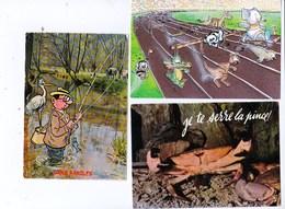 """Animaux Humour """"sans Paroles""""peche Héron  Course , Sports éléphanteau Dauphin..""""Je Te Serre La Pince ! Crabe Lot De 3 BE - Animaux & Faune"""