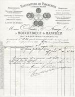Facture Lettre 1913 MOUCHEBOEUF & RANCHER à ISSOUDUN (36) Manufacture Parchemins - Pas Carte Postale - - Issoudun