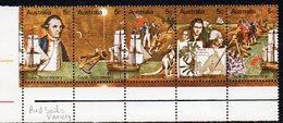 AUSTRALIA, 1970 COOK STRIP 5 WITH RED SAIL VARIETY - 1966-79 Elizabeth II