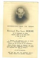 IMAGE RELIGIEUSE - FAIRE PART DE DÉCÈS - RÉVÉREND PÈRE LOUIS BERNE DE LA COMPAGNIE DE JESUS - 1949 - Décès