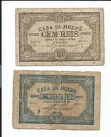 Portugal Casa De Moeda,lisboa Lot De 2 Billets De 1891 - Portugal