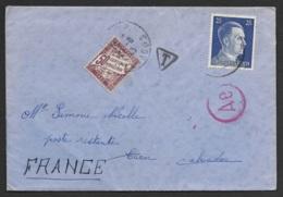 Allemagne-Enveloppe Destination France-Taxée à L'arrivée-1943 - Allemagne