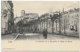 LIEGE : Le Boulevard De La Sauvenière Et L'église Saint-Martin - Luik