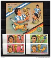 GUINEA 1986 SPORT, SOCCER, SPACE MNH MI. 1134 - 1137 BL. 240 IMPERF. - Calcio