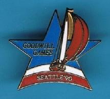 PIN'S //   ** GOODWILL GAMES / SEATTLE'90 / VOILIERS DE COURSE ** . (© & TM SOC) - Voile