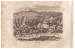 1844 - Gravure Sur Bois - Fougères (Ille-et-Vilaine) - Vue Générale - FRANCO DE PORT - Prints & Engravings