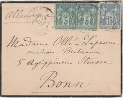 Envrloppe 1898 / Timbres SAGE 5 C Et 15 C / Pour Bonn Allemagne - France