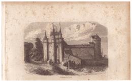 1844 - Gravure Sur Bois - Vitré (Ille-et-Vilaine) - Le Château - FRANCO DE PORT - Estampes & Gravures