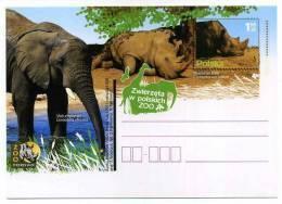 ENTIER POSTAL POLOGNE ZOO ELEPHANT RHINOCEROS - Eléphants