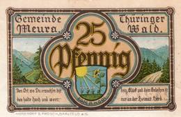 Billet Allemand - 25 Pfennig - Meura Im Thüringer Wald 1921 - Angerlinde, Stadtwappen - Lokale Ausgaben