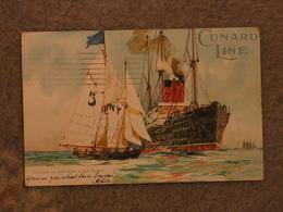 CUNARD LINE CUNARD LINER PICKING UP NY PILOT - OFFICIAL, ORIGINAL CARD PU 1903 - Steamers