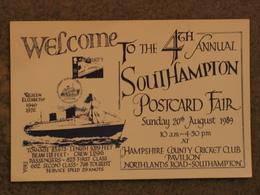 CUNARD LINE QUEEN ELIZABETH ON SOUTHAMPTON POSTCARD FAIR CARD 1989 - Steamers