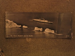 CUNARD LINE QUEEN ELIZABETH PASSING NEEDLES - LONG CARD, RP - Steamers