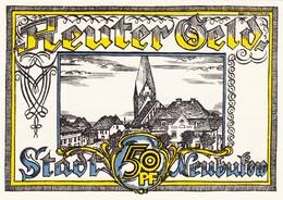 Billet Allemand - 50 Pfennig - Neubukow 1922 - Bauer Avec Rinderpflug, L'Églisenmotiv - Lokale Ausgaben
