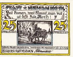 Billet Allemand - 25 Pfennig - Neubukow 1922 - Bauer Et Rind, Stadtmotiv - Lokale Ausgaben