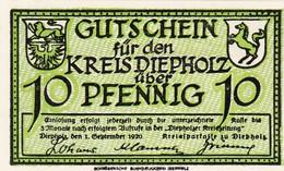 Billet Allemand - 10 Pfennig - Diepholz 1920 - Stadtwappen, Gänse - Lokale Ausgaben