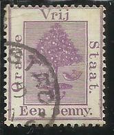 ORANGE FREE STATE STATO LIBERO 1868 1900 TREE ALBERO PENNY VIOLET EEN PENNY ONE 1p 1894 USED USATO - Sud Africa (...-1961)