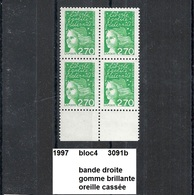 Bloc4 1997 Neuf ** Y&T N° 3091b Oreille Cassée Typ 2 - 1997-04 Marianne Du 14 Juillet