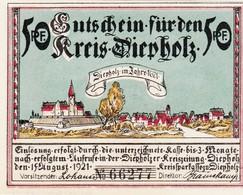Billet Allemand - 50 Pfennig - Diepholz 1921 - Ortsmotiv Anno 1621, Auburg Um 1654 - Lokale Ausgaben