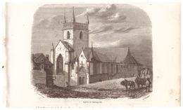 1844 - Gravure Sur Bois - Quimperlé (Finistère) - L'église - FRANCO DE PORT - Prints & Engravings