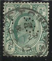 TRANSVAAL 1902 1903 PERFIN KING EDWARD VII RE EDOARDO HALF PENNY 1/2p USATO USED OBLITERE' - Sud Africa (...-1961)