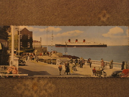 CUNARD LINE QUEEN MARY PASSING COWES - LONG CARD - Steamers
