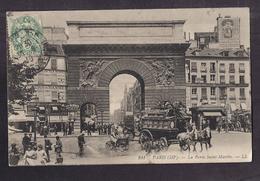 CPA 75 - PARIS - La Porte Saint-Martin - TB PLAN TB ANIMATION + TB ATTELAGE 1910 + Publicité Bière De Lyon - Paris (03)
