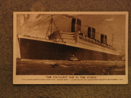 CUNARD LINE QUEEN MARY RP - MAIDEN VOYAGE PERIOD CARD - Steamers