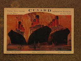 CUNARD LINE MAURETANIA/BERENGARIA/AQUITANIA POSTER ADVERT CARD-ORIGINAL - Steamers