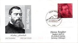 """BRD Schmuck-FDC  """"200. Geburtstag Von Ludwig Feuerbach"""", Mi. 2411 ESSt 8.7.2004 BERLIN - BRD"""