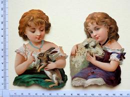 2 CHROMOS    DECOUPIS.....GAUFRES.....ENFANTS AVEC UN AGNEAU OU UN LAPIN - Enfants