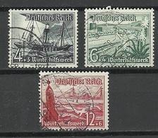 Deutsches Reich 1938 Michel 652 & 654 & 656 Winterhilfswerk Schiffe O - Germany
