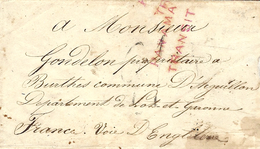 "1850- Enveloppe Carte De Visite De VALPARAISO ( Chili)  Taxe TAMPON 21  + "" PANAMA / TRANSIT "" - Postmark Collection (Covers)"