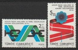 MiNr. 2463 - 2464  Türkei 1978, 3. Sept. 25 Jahre Europäische Konvention Zum Schutz Der Menschenrechte. - 1921-... Republik